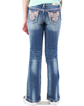 Grace in LA Girls' Medium Wash Embellished Pocket Bootcut Jeans , Indigo, hi-res