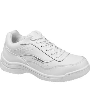 SkidBuster Women's Slip Resistant Athletic Work Shoes, White, hi-res