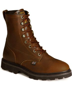 "Justin Men's Premium 8"" Lace-Up Work Boots, Tan, hi-res"