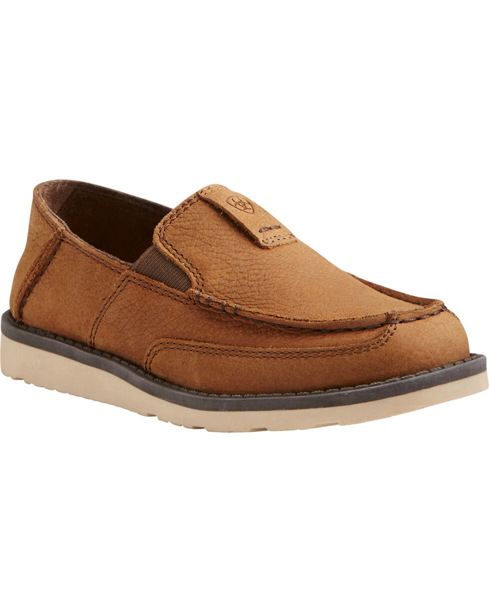 Ariat Boys' Slip On Cruiser Shoes - Moc Toe, Brown, hi-res