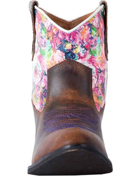 Laredo Women's Blossom Floral Pastel Ankle Boots - Round Toe, Rust Copper, hi-res