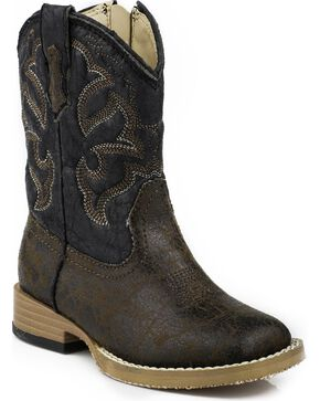 Roper Toddler  Boys' Distressed Faux Leather Cowboy Boots - Square Toe, Dark Brown, hi-res