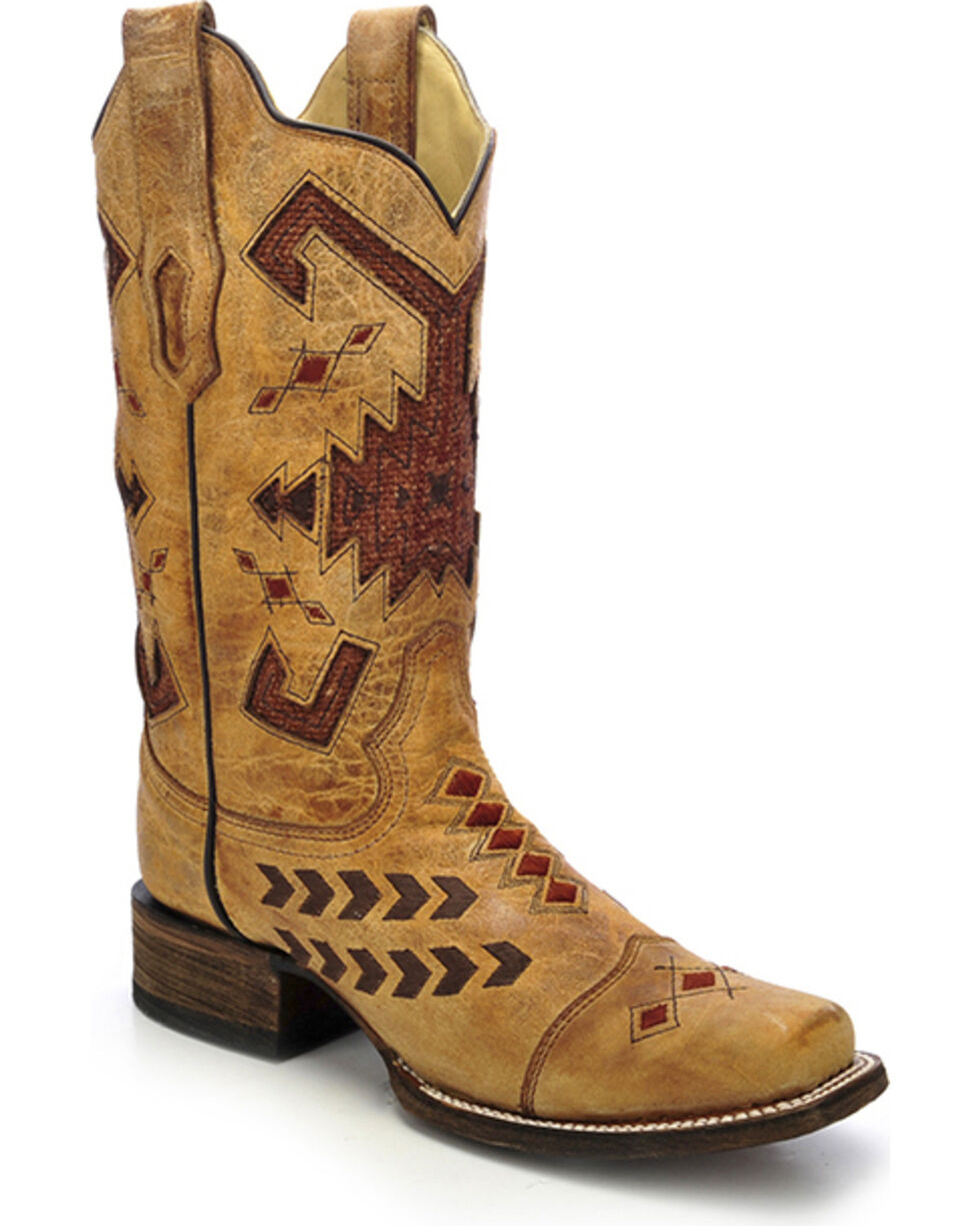 Corral Women's Jute Inlay Western Boots, Antique Saddle, hi-res