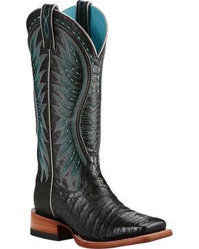Ariat Women's Vaquera Caiman Belly Exotic Boots, Black, hi-res