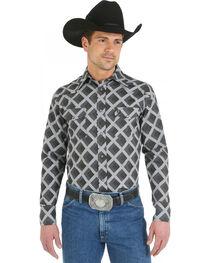 Wrangler George Strait Snap Pocket Grey Diamond Print Western Shirt, , hi-res