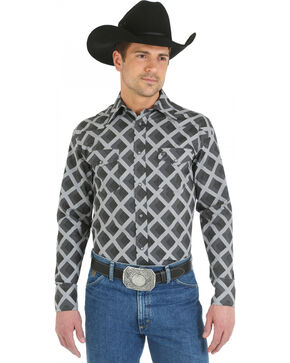 Wrangler George Strait Snap Pocket Grey Diamond Print Western Shirt, Grey, hi-res