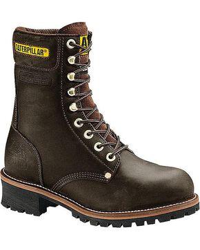 "CAT Men's Logger 9"" Steel Toe Work Boots, Black, hi-res"
