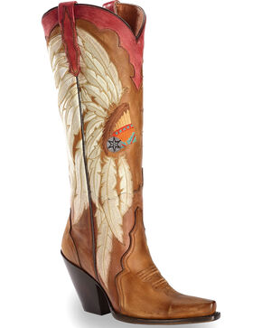 "Dan Post Women's Vintage Indian Headdress 15"" Western Boots - Snip Toe, Brown, hi-res"