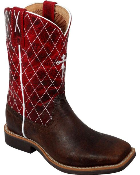 Twisted X Youth Cowkid Western Boots, Chocolate, hi-res