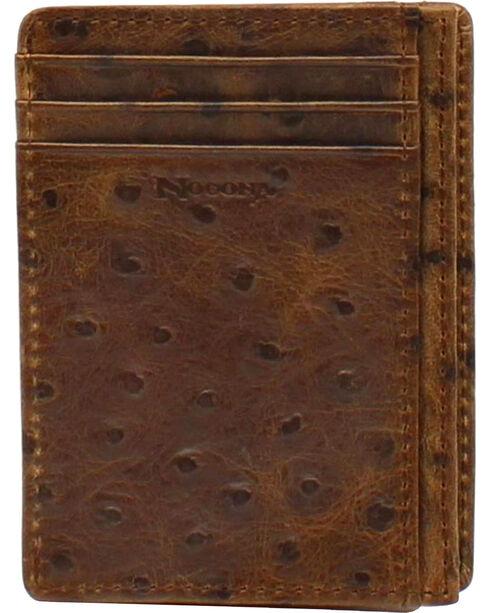 Nocona Ostrich Print Card Case Wallet, Brown, hi-res