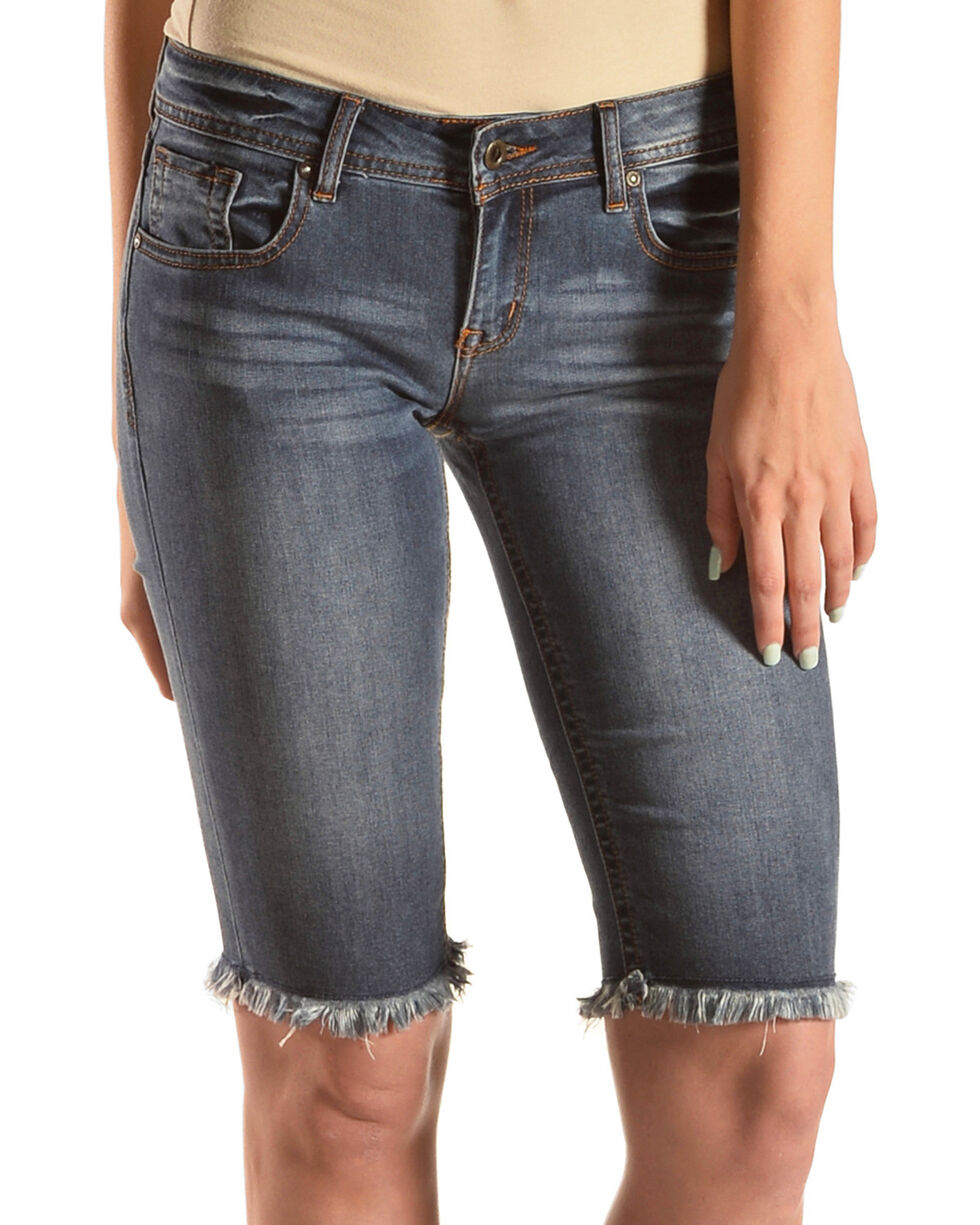 Grace in LA Women's Raw Hem Bermuda Shorts, Indigo, hi-res