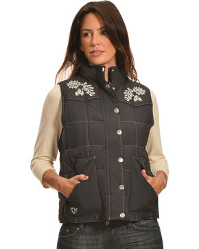 Cowgirl Hardware Women's Floral Embroidered Vest, Black, hi-res
