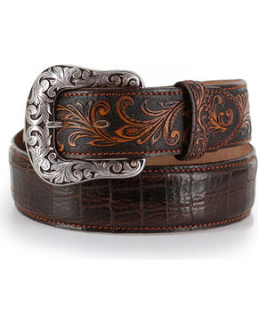 Tony Lama Pinto Classic Top Grain Leather Belt, Brown, hi-res