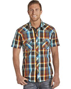Rock & Roll Cowboy Men's Mineral Crinkle Plaid Shirt , Multi, hi-res