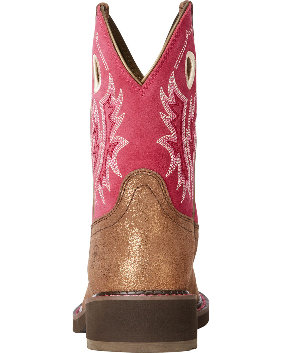 Ariat Women's Fatbaby Heritage Metallic Brown Hot Pink Cowgirl Boots - Round Toe, Bronze, hi-res