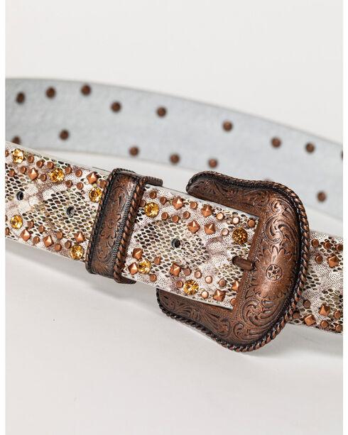 Shyanne Women's Studded Gator Print Belt, Brown, hi-res
