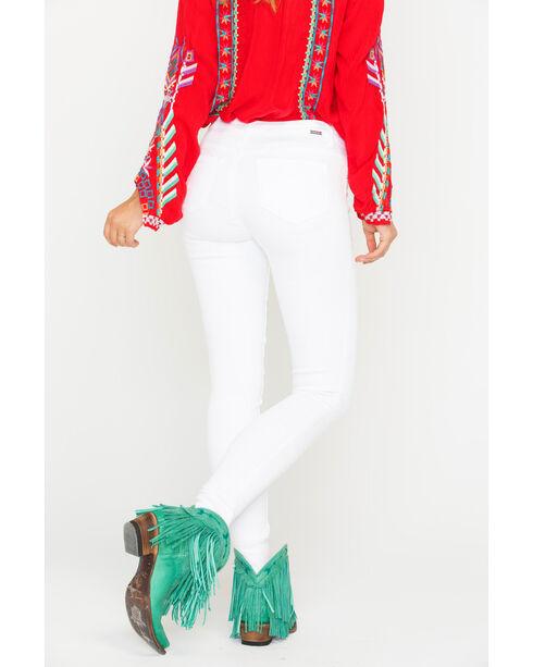 Tractr Women's White Basic Fray Hem Skinny Jeans, White, hi-res
