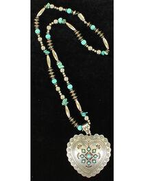 Blazin Roxx Heart Concho Beaded Necklace , , hi-res