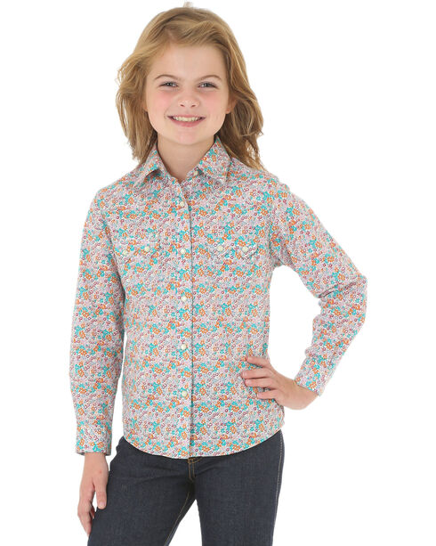 Wrangler Girls' Floral Long Sleeve Western Shirt, Multi, hi-res