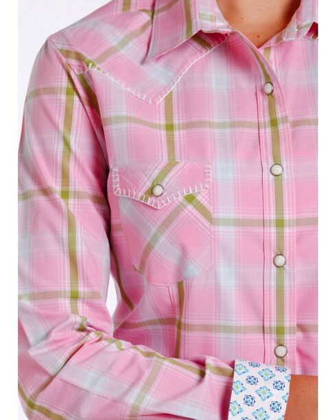 Rough Stock by Panhandle Women's Pink Pershing Plaid Shirt , Pink, hi-res