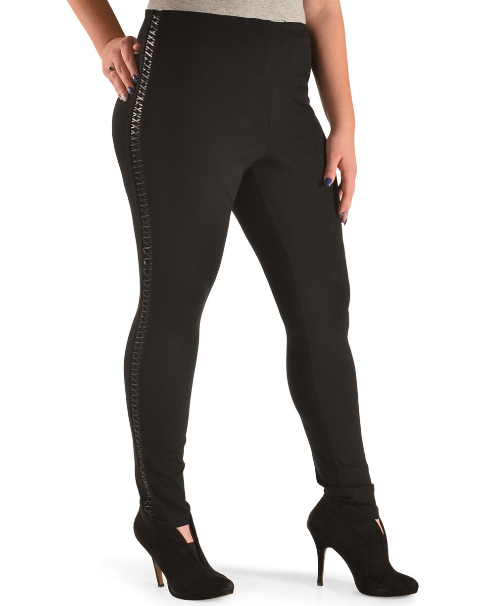 Boom Boom Jeans Women's Lace-Up Leggings - Plus, Black, hi-res