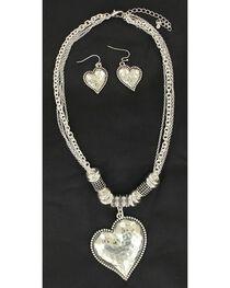 Blazin Roxx Hammered Heart Necklace & Earrings Set, , hi-res