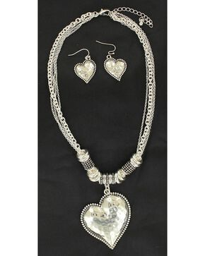 Blazin Roxx Hammered Heart Necklace & Earrings Set, Silver, hi-res