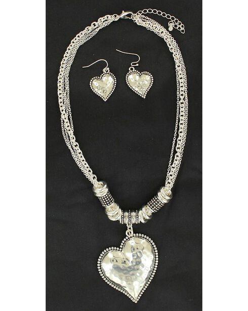 Blazin Roxx Hammered Heart Necklace & Earrings Set, Silver, hi-res