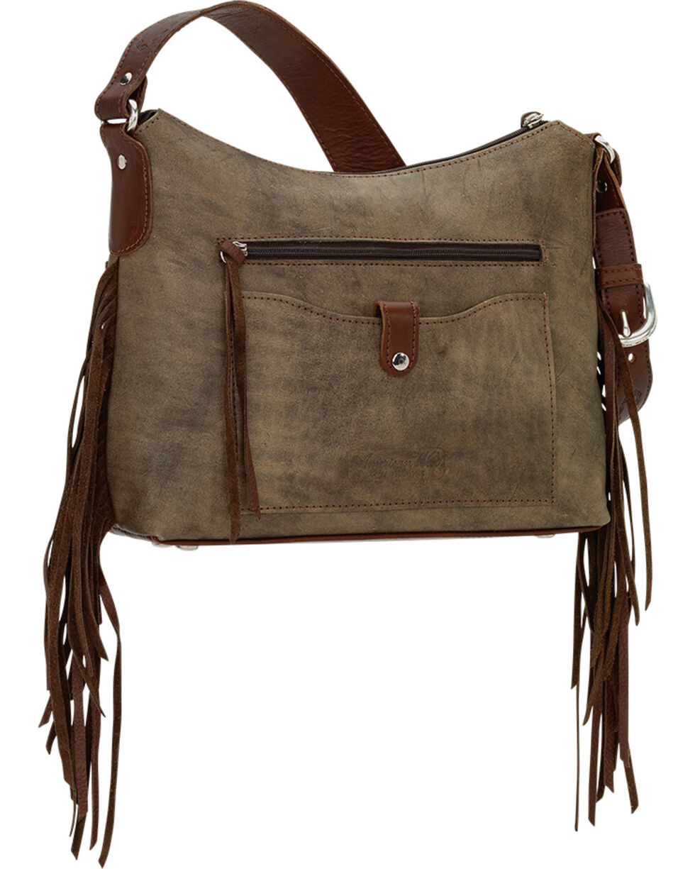 American West Women's Cross My Heart  Zip Top Shoulder Bag, Rustic Brn, hi-res