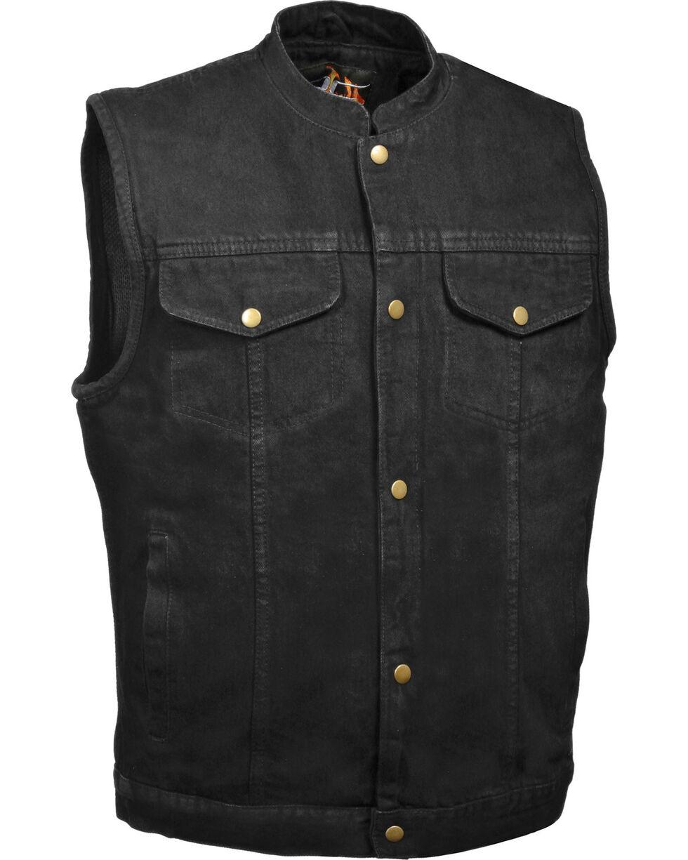 Milwaukee Leather Men's Snap Front Denim Club Vest w/ Gun Pocket - Big - 3X, , hi-res