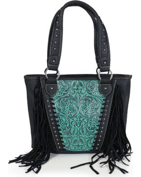 Trinity Ranch Women's Fringed Tooled Leather Purse, Black/turquoise, hi-res