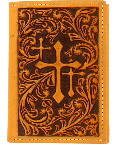 Nocona Men's Tricross Tri-Fold Wallet , Tan, hi-res