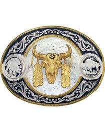Montana Silversmiths Steer Skull Buckle, , hi-res