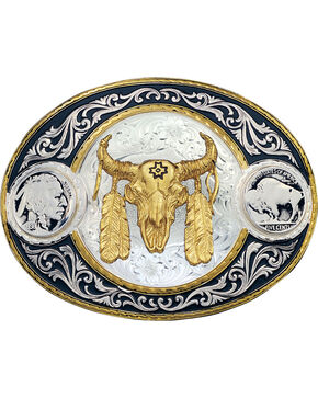 Montana Silversmiths Steer Skull Buckle, Multi, hi-res