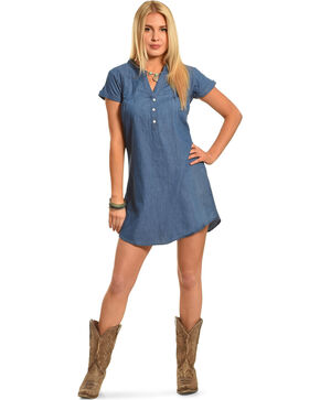 Angel Ranch Women's Indigo Feminine Chambray Dress , Indigo, hi-res