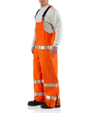 Carhartt Men's Flame Resistant Rainwear Bib Overalls, Orange, hi-res