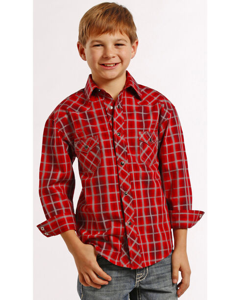 Rock and Roll Cowboy Boys' Red Plaid Snap Western Shirt , Plaid, hi-res