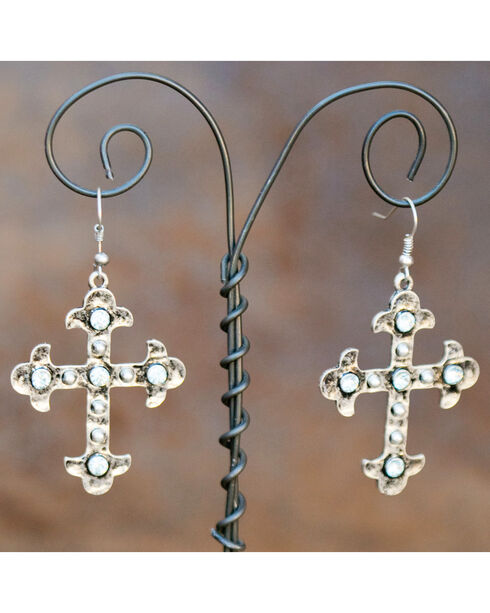 West & Co. Silver Crystal Maltese Cross Earrings, Silver, hi-res
