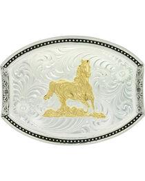 Montana Silversmiths Custom Cut Running Horse Belt Buckle , , hi-res