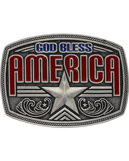 Montana Silversmiths God Bless America Buckle, Silver, hi-res