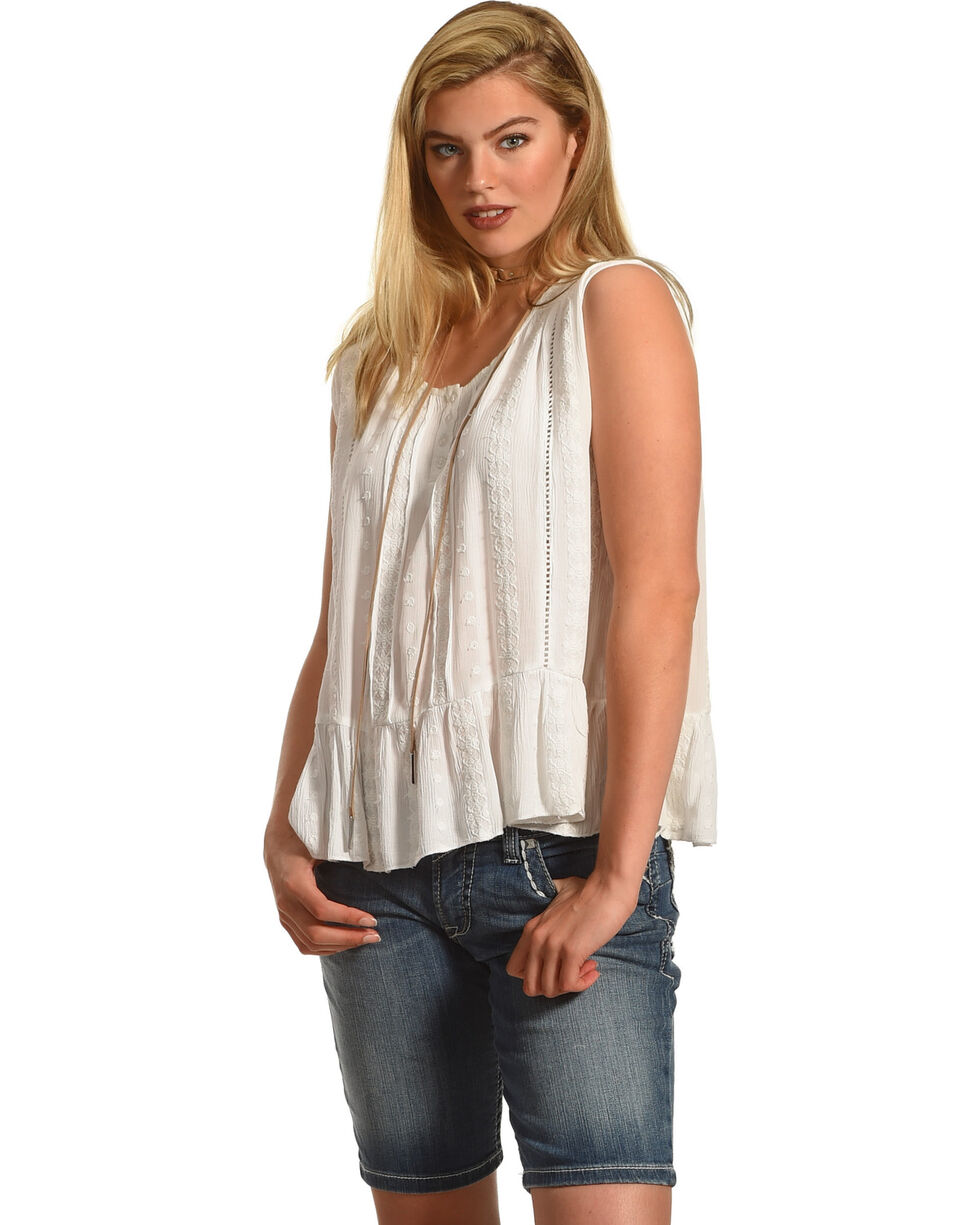 Jane Ashley by Jeetish White Ruffle Tank , White, hi-res