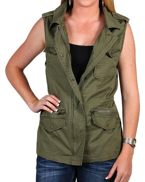 Per Se Women's Military Vest, Olive, hi-res