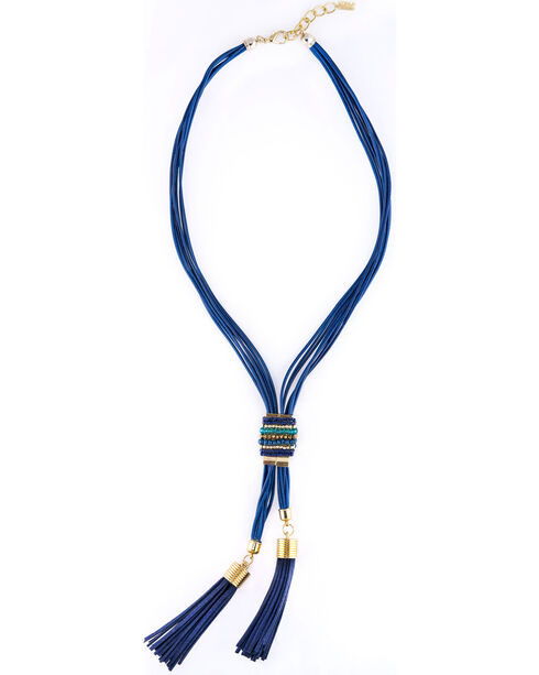Sincerely Mary Women's Mumbai Tassel Necklace, Navy, hi-res