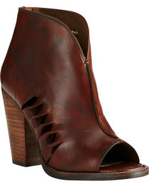 Ariat Women's Lindsley Heel Booties, Dark Brown, hi-res