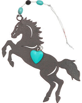 BB Ranch Metal Running Horse Charm Ornament, Turquoise, hi-res