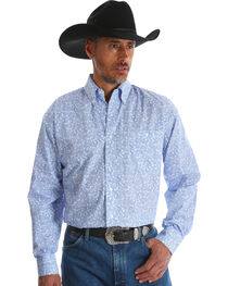 Wrangler Men's George Strait Blue Printed Button Down Western Shirt - Big & Tall , , hi-res