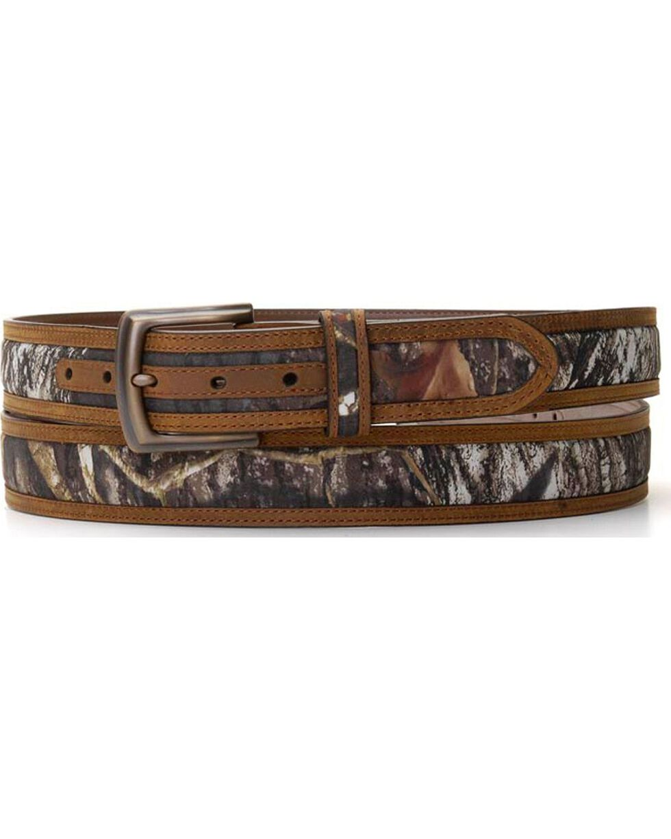 Nocona Men's Mossy Oak and Leather Belt, Camouflage, hi-res