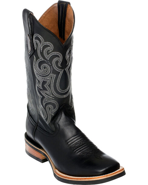 Ferrini Men's French Calf Leather Cowboy Boots - Square Toe, Black, hi-res