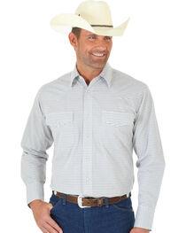 Wrangler Wrinkle Resist Men's Grey & Brown Plaid Western Shirt , , hi-res