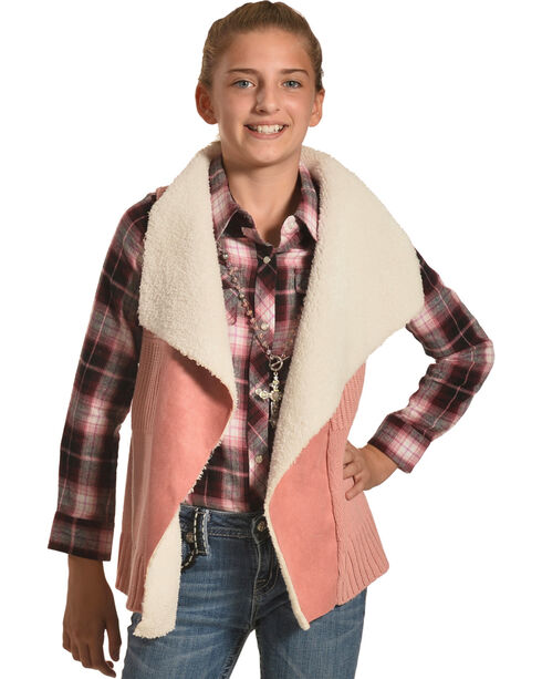 Derek Heart Girls' Pink Sherpa Collar Sweater Vest , Pink, hi-res